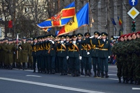 The National Army Honor Guard Marches in Constitution Square in Bucharest