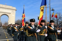 National Army Service Members March in the Triumph Arch Square from Bucharest